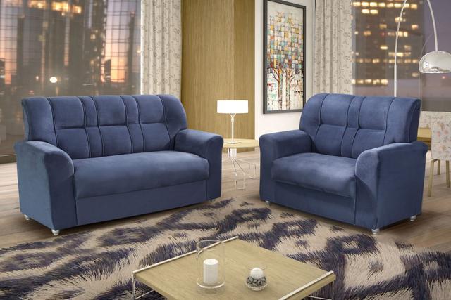 Imagem de Conjunto Sofá 2 e 3 Lugares Monza Estofados Nova America Azul CestaPlus