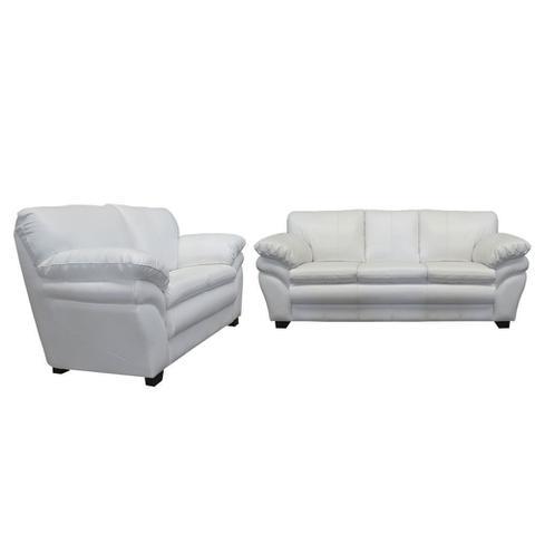 Imagem de Conjunto Sofá de Couro Bradley 3 e 2 Lugares - Branco