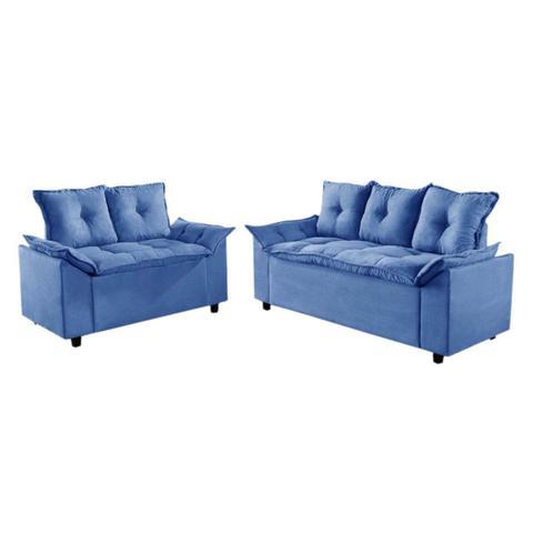 Imagem de Conjunto Sofá Liones com 2 e 3 Lugares Almofadas Soltas e Tecido Suede Cor Azul