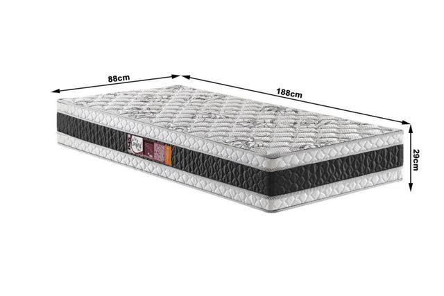 Imagem de Conjunto Solteiro Espuma Pro Confort Stout D45 Preto 88x188x67 Colchão + Cama Box