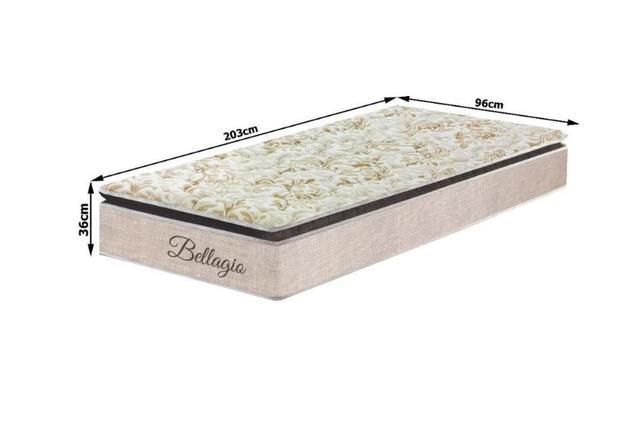 Imagem de Conjunto Solteiro Medida Especial Bellagio Marrom Molas Ensacadas 96x203x74 Colchão + Cama Box