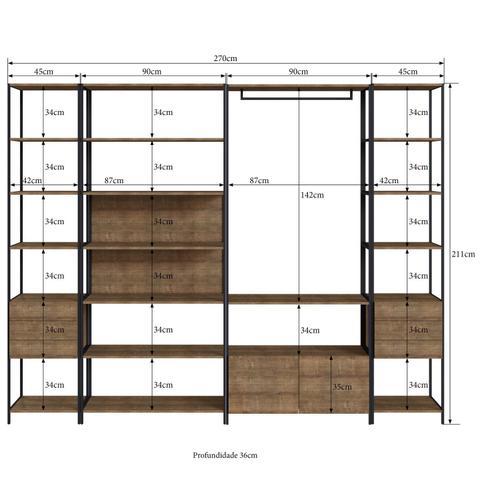Imagem de Conjunto Steel Quadra Vermont de 1 Guarda-Roupa Closet Modulado, 2 Estantes com 3 Gavetas e 5 Prateleiras e 1 Estante 7 Prateleiras em Preto Fosco - A