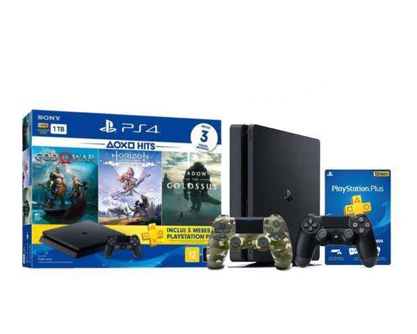 Imagem de Console Playstation 4 Slim 1TB Hits Bundle 4 c/ 3 jogos + controle wireless PS4 Camuflado - Sony