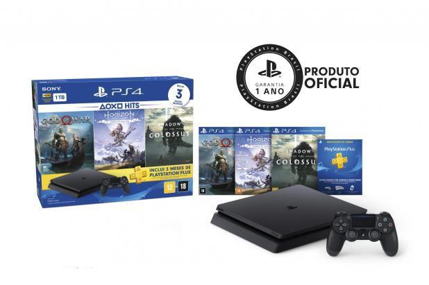Imagem de Console Playstation 4 Slim Sony 1 Tera + 3 Jogos God of War Horizon Zero Dawn Shadow Lançamento