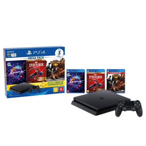 Console Playstation 4 Slim Hits Bundle 17 1tb + 3 Jogos + 3 Meses