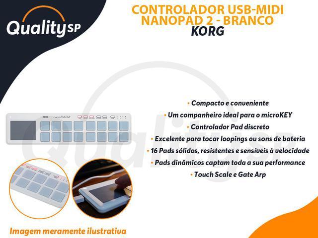 Imagem de Controlador Korg Nanopad2 Branco - Usb-midi 16 Pads Solidos