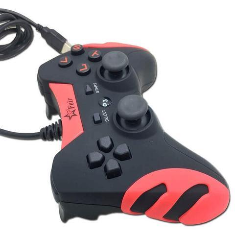 Imagem de Controle Joystick Com Fio Usb 2 em 1 Para Pc e Playstation 3 Play 3 Ps3 FEIR FR-218A VERMELHO