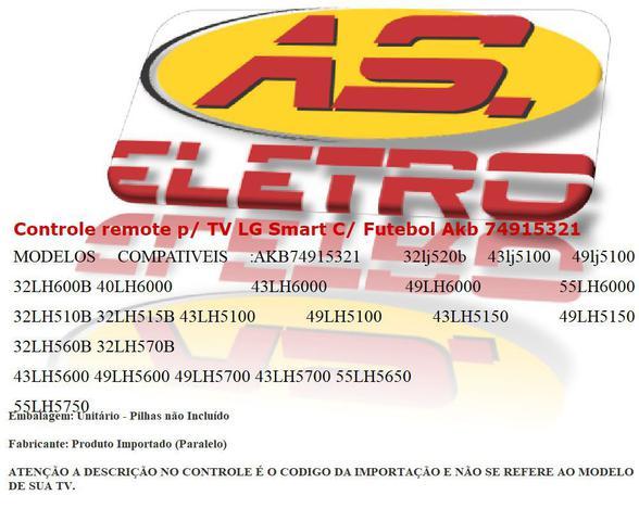 Imagem de Controle Remote P/ Tv Lg Smart Led Lcd 49uh6100uh 49uh610a