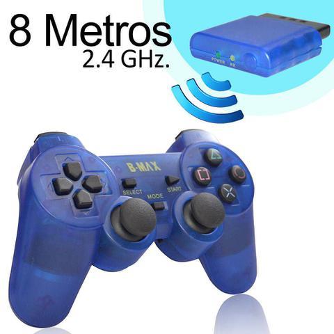 Imagem de Controle Sem Fio Para PS2 Dual Shock Analógico 8 Metros de Alcance - Azul