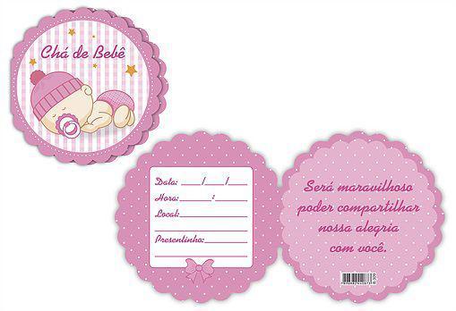 Imagem de Convite chá de bebê redondo rosa