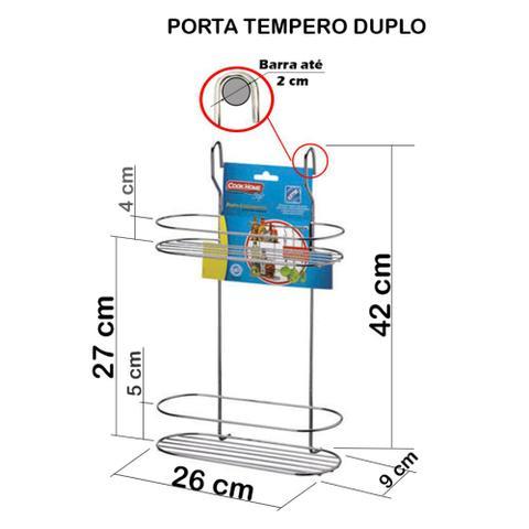 Imagem de Cook Home 4508 Conjunto Cozinha Porta Tempero Duplo Ganchos Barra 45 cm Aço Cromado Arthi