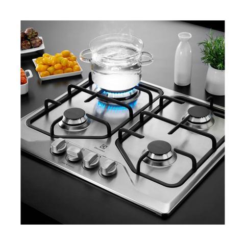 Imagem de Cooktop a Gás Electrolux Inox com 4 bocas e Queimador Tripla Chama Bivolt GT60X