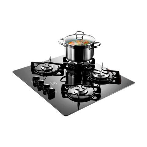 Imagem de Cooktop a Gás Electrolux Preto com 4 bocas, Queimadores Selados e Grades Individuais Bivolt GC60V