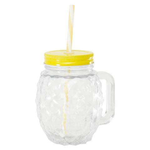 Imagem de Copo de vidro com canudo pineapple amarelo 480ml lyor