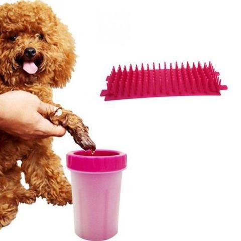 Imagem de Copo Limpador Limpa Patas Patinhas De Cachorro Cão Rosa