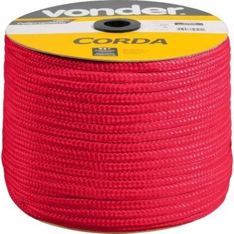 Imagem de Corda Seda Trançada 10mm Rolo Com 50m Cor Vermelha - Vonder