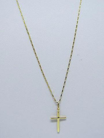 Imagem de Cordão Corrente Masculina Ouro 70cm + Pingente Crucifixo Ouro 18k Cadeado