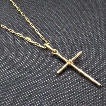 Imagem de Corrente Cordão Masculino 70cm 2mm Pulseira 21cm e Crucifixo tudo Folheado Ouro