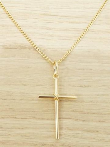 Imagem de Corrente Masculina Grumet 70cm 2mm Crucifixo Folheada Ouro. Cod: 1745/1923