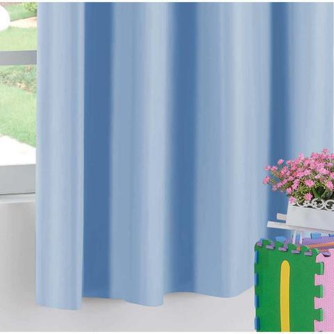 Imagem de Cortina Blackout Corta Luz Juvenil 2m x 1,30m Tecido PVC - Azul