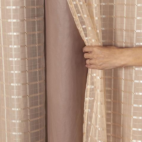 Imagem de Cortina Blackout PVC com Tecido Voil Xadrez 2,80 m x 2,30 m Avelã