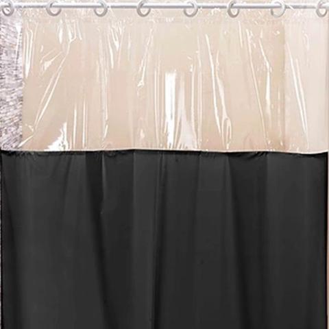 Imagem de Cortina Box para Banheiro PVC Antimofo Preta 1,40 x 1,98 cm com Ilhós para Varão 1,20 Metros