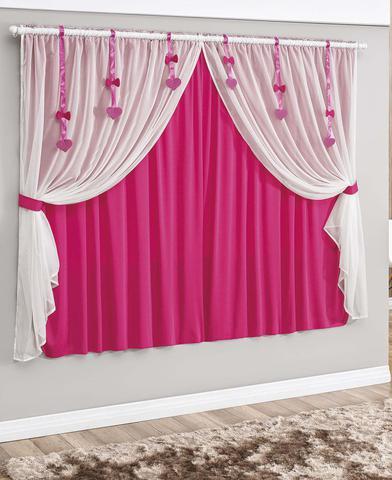 Imagem de Cortina Catarina 2,00m x 1,70m Pink Tecido Malha Gel Com Voal Quarto Menina