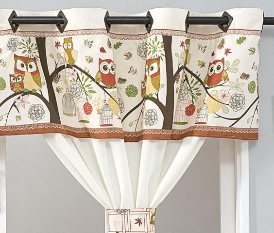 Imagem de Cortina de Cozinha Home 2,00m x 1,40m para Varão Simples - Coruja