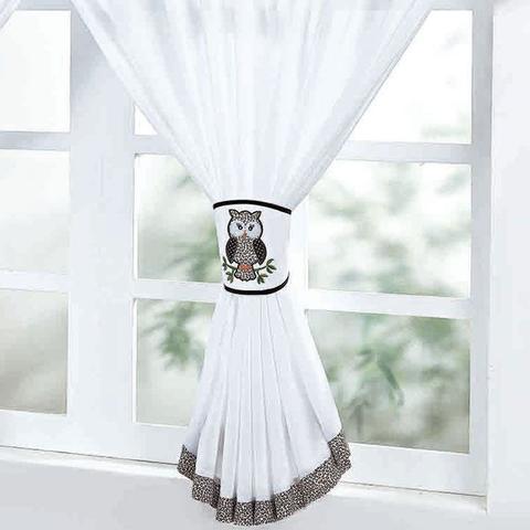 Imagem de Cortina de Cozinha para Janela 2,00m x 1,30m Coruja Branco