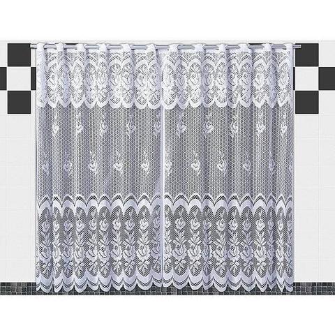 Imagem de Cortina De Renda Para Cozinha Karla  2,00x1,20+30cm Branca