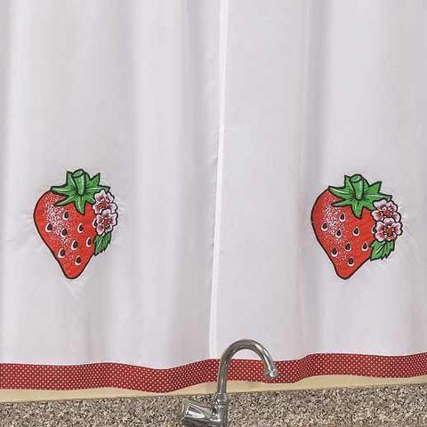 Imagem de Cortina de Varão para Cozinha Bas 2 Metros x 1,50 Metros Alt Bordada - Morango Vermelho