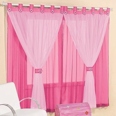Imagem de Cortina de voal 2,00 x 1,70 m p/ quarto de menina ou bebê na cor pink / rosa  juvenil