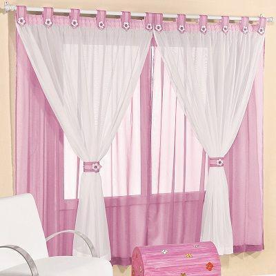 Imagem de Cortina de voal 2,00 x 1,70 m p/ quarto de menina ou bebê na cor rosa / branco juvenil