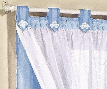 Imagem de Cortina de voal 3,00 x 2,80 m p/ quarto de menino, menina ou bebê na cor azul bebê / branco juvenil