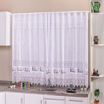 Imagem de Cortina Delicata Renda Branca Estampa Coruja para Cozinha 2 metros - branca - 2 metros