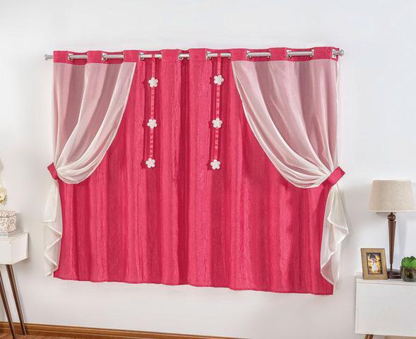 Imagem de Cortina Leticia 2,00m x 1,70m Pink Tecido Cetim Amassado Com Voal Quarto Menina