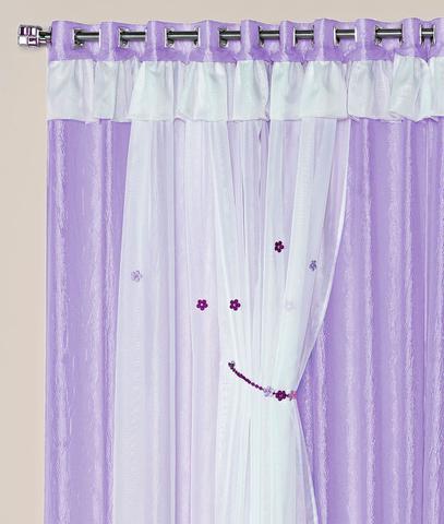 Imagem de Cortina Mimos 2,00m x 1,70m Lilás Tecido Seda Com Voal Quarto Infantil Menina