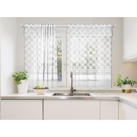 Imagem de Cortina para Cozinha 2 Folhas Mari Lepper 1,30mx2,40m Branco