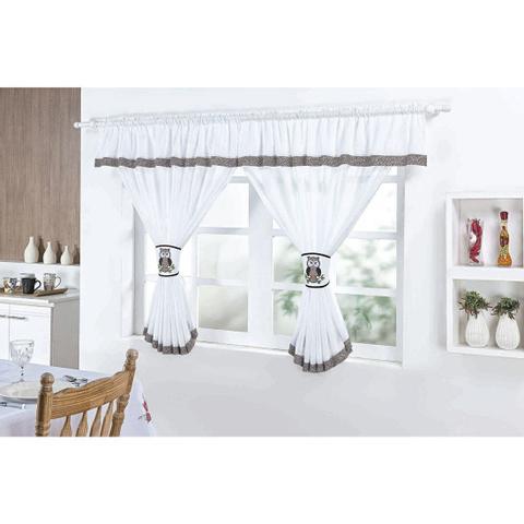 Imagem de Cortina para Cozinha 2,00m x 1,30m com Abraçadeira Coruja