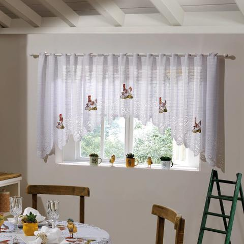 Imagem de Cortina para Cozinha Cascata Renda Branca Premium 3,00x1,00m Filó