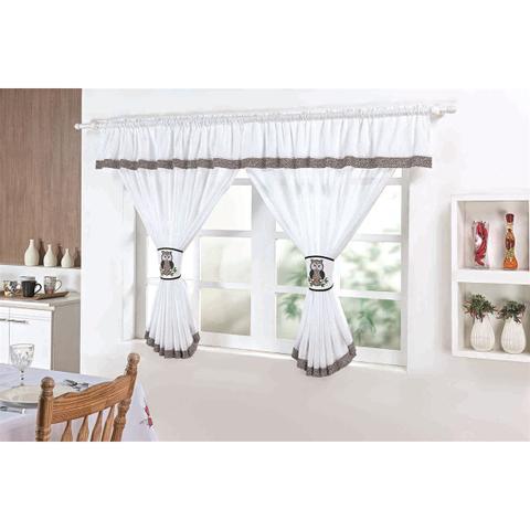 Imagem de Cortina Para Cozinha Coruja 130x200cm Branco