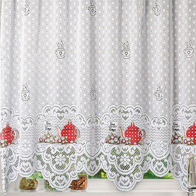Imagem de Cortina para Cozinha Interlar 220x120 cm Renda e Bandô 30 cm Hora do Chá