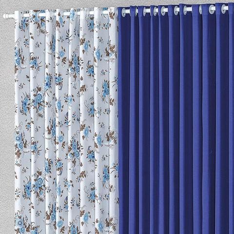 Imagem de Cortina Para Janela 2,00m X 1,70m Malha Estampada Azul
