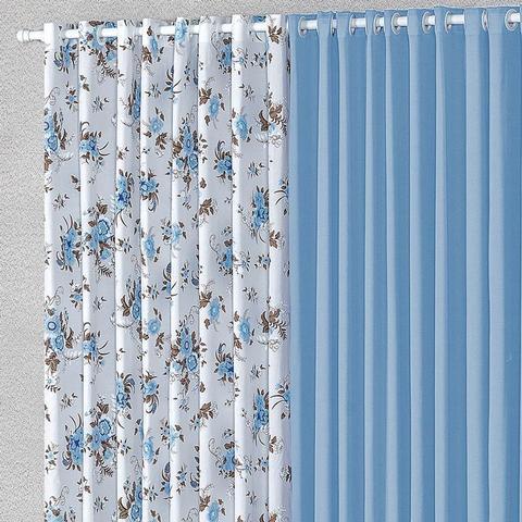 Imagem de Cortina Para Janela 2,00m X 1,70m Malha Estampada Azul Claro