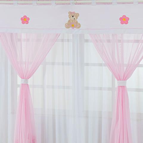 Imagem de Cortina para Quarto de Menina 2,00m x 1,80m Ursinho Rosa