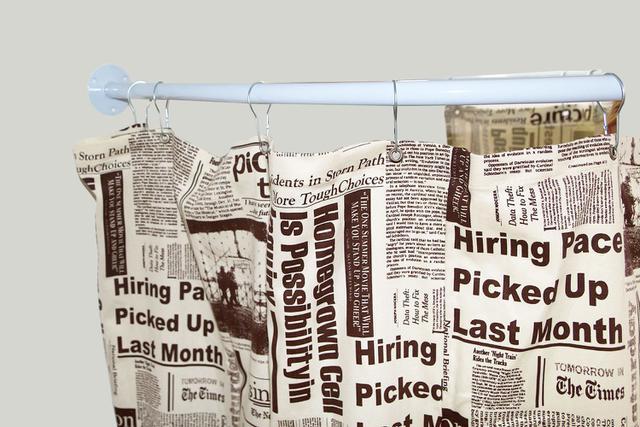 Imagem de Cortina para Varão Comércio Tecido Brim 1,60x1,90 Roupa Estampada Jornal Creme Trocador Provador