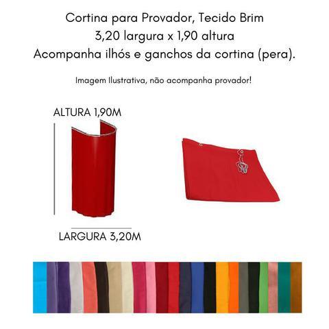 Imagem de Cortina para Varão Comércio Tecido Brim 3,20x1,90 Roupa Estampada Jornal Creme Trocador Provador