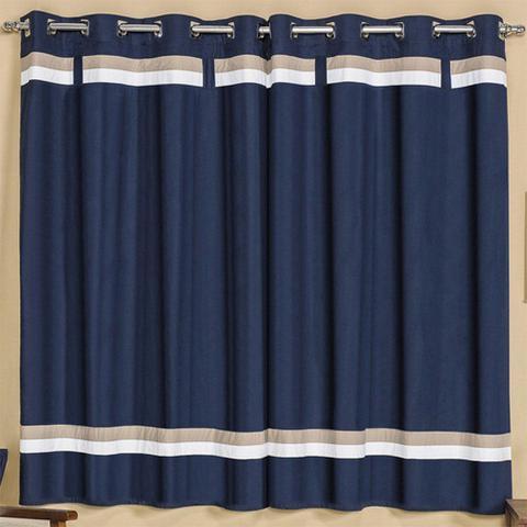 Imagem de Cortina para Varão Simples Kauã 2,00m x 1,80m Azul Marinho - Vilela Enxovais