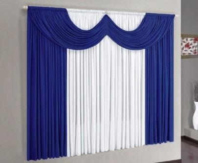 Imagem de Cortina Paris Azul e Branco  2,00m x 1,70m - Varão Simples
