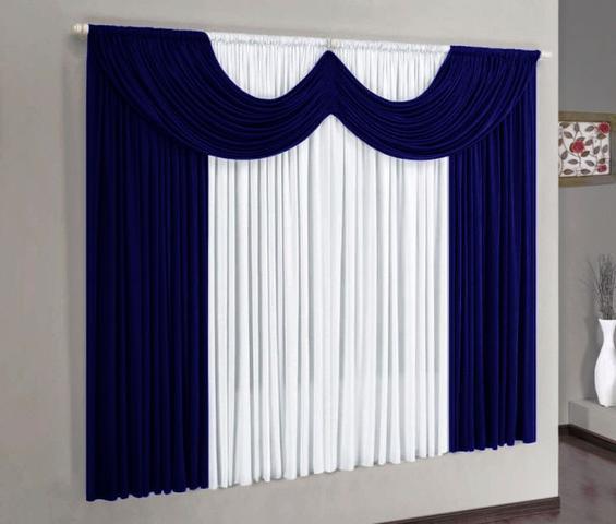 Imagem de Cortina Paris Azul Marinho e Branco 2,00m x 1,70m - Varo Simples